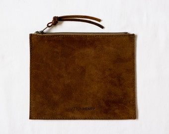 Leather Flat Pouch • Rough Out Suede Brown Oil Tanned • Distressed Leather Zipper Case • Minimal Leather Bag • Rust Brown Leather Organizer