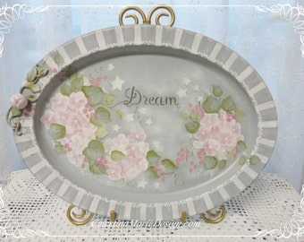 Hydrangea Dream Tray, Hand Painted Vintage Metal Oval Tray, Home Decor, Decorative Display, Vanity Tray, ECS, CSSTeam