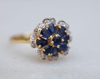 Diamond Blue Sapphire 14 K Yellow Gold Flower Statement Ring