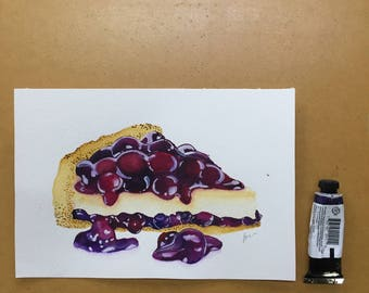 Cherry Cheesecake Original Food Illustration Watercolour Illustration
