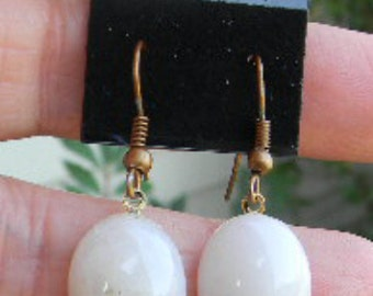 White Stone or Art DECO Glass Cabochon Earrings