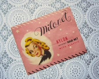 Vintage 1940's Milonet Nylon Invisible Hair Net White with Elastic Band