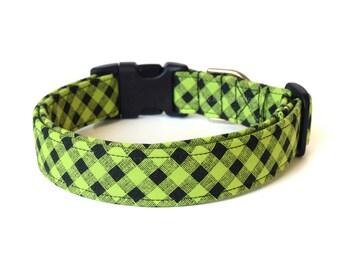 Green Dog Collar, Green Plaid Dog Collar, Lime Green Collar, Modern Dog Collar, Designer Dog Accessories, Cute Pet Accessory, Green Black