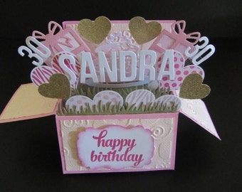 Handmade 3D greeting card in a box -Presents, Personalised