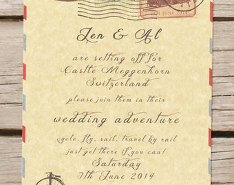 Travel theme wedding invitation, passport, vintage, destination wedding