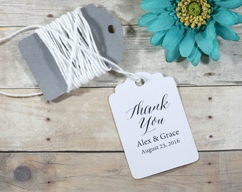 Custom Thank You Tags 20pc - Personalized White Wedding Favor Tags - White Custom Shower Favors - Custom Bridal Favor Tags