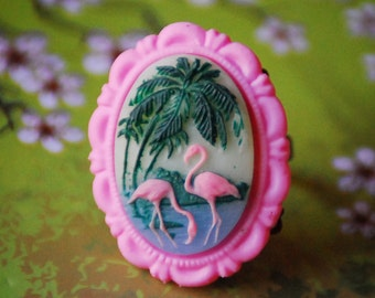 Rockabilly Pink Flamingo Ring, Bubblegum Pink Flamingo and Palm Trees Adjustable Ring, Flamingo Cameo Ring, Kitsch Beach Jewelry