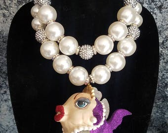 Kissing Fish Statement Pendant Over Sized Faux Pearl Statement Necklace KATROX Whimsical Eccentric Necklace OOAK Art to Wear Funky Jewelry