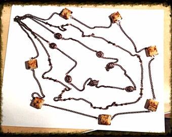 Handmade MWL venetian glass long multi strand necklace. 0104