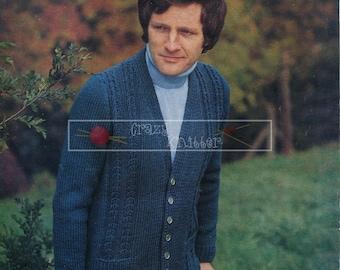 Men's Jacket DK and Aran 36-46 ins Robin 2453 Vintage Knitting Pattern PDF instant download
