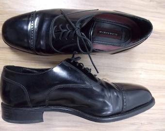 Vintage Men's Classic Black Leather Dress Shoes Sz 11 / Oxfords / Brogues