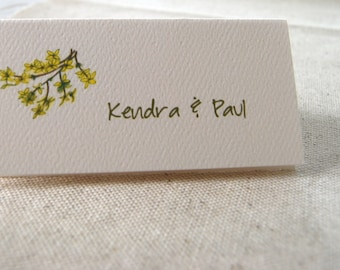 Forsythia Tented Cards,Personalized Cards, Blank Seating Cards, Wedding Name Cards,  Bridal Place Cards, Party Decor, Event Place Cards
