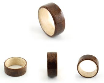 Wooden Ring Handmade From Walnut Wood and Mountain Maple, Maple Bentwood Ring , walnut Bentwood Ring,