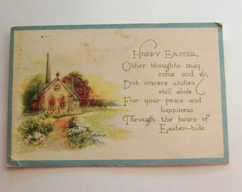 Antique Easter postcard church scene with poem