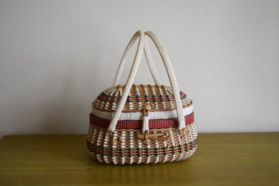 Small Vintage Woven Sewing / Gathering Basket w/Handles -  Bohemian, Farmhouse, Natural, Rustic, Eclectic