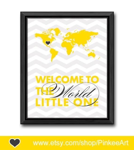 yellow gray baby room decor travel theme nursery art welcome