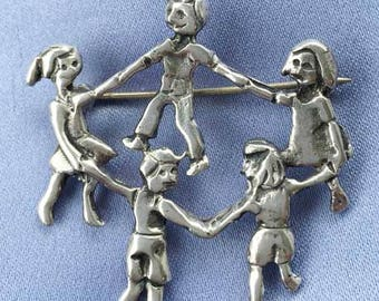 Cute 'Ring Around The Rosie' Children Playing 'Sterling' Pin