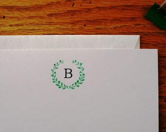 Monogrammed flat note cards, Note cards, All occasion flat note cards, Watercolor note cards, Correspondence, Personalized Stationery