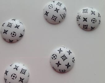 SET of 5 APPLIQUE cabochon white black color to be stuck