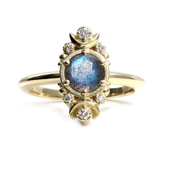 Gold Moon Ring - Labradorite and Diamond Engagement Ring with Tiny Crescent Moons