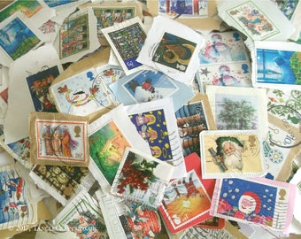 20 British Christmas Stamps, GB Postage Stamps on Paper | Christmas Holiday Thematic Mix, Used GB Postal Stamps | Decoupage, Collage, Craft