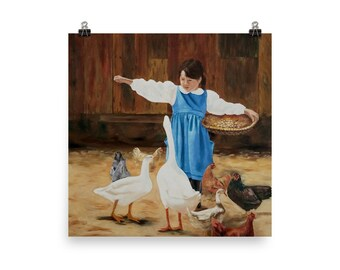 Poster of Girl feeding the animals