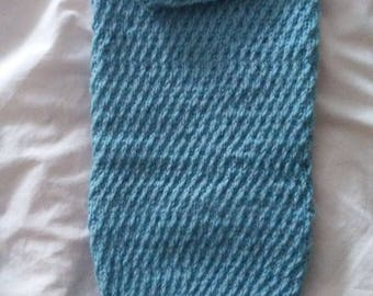 Handknit baby boy sack with patching cap