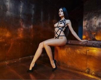"Body harness ""EXTREME WEB"" handmade body cage - body harness, Chest Harness, fetish bondage"