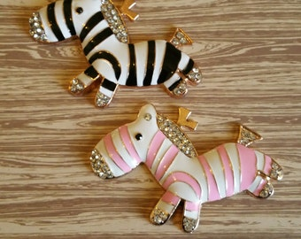 Black and Pink Zebra alloy flatback phone deco