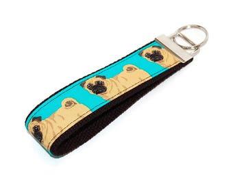 Pug Keychain   Dog Key Fob Wristlet   Under 10 Gift Animal Lover Dog Walker or Groomer