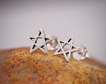 Sterling Silver Star Earrings, Sterling Silver Star Stud Earrings, Wishing Star Earrings, Lucky Star Earrings, Gift for Girls, Gift for Her