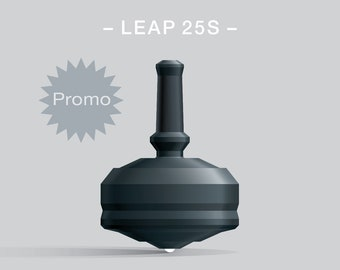 Leap 25S Black – Spin top with ceramic tip and rubber grip