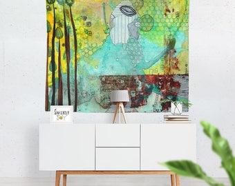 Mixed media art tapestry wall hanging abstract art tapestries artist tapestry abstract art tapestry boho tapestries unique wall art tapestry