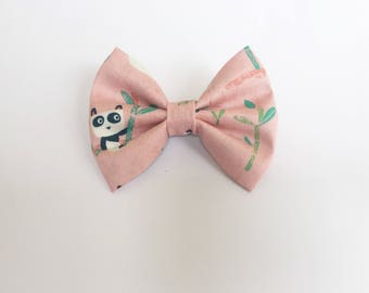 Panda, pink, panda bow, baby accessories, bamboo, toddler bows
