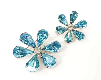Blue Crystal Brooch Set | Colorful Floral Jewelry | Vintage Flower Pins | Something Blue | 1960s Accessories | Gift for Her | Retro Glam