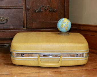 Vintage Yellow Samsonite Hardshell Suitcase, Vintage Retro Yellow Luggage