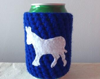Democrat Crochet Beer Cozy, Coffee Cup Cozy, Coffee Cozy, Reusable Crochet Coffee Sleeve, Can Cozy by Maroozi