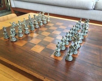 Vintage Chess Set Wooden Chess Board with Cast Metal Chess Pieces Etruscan Roman Theme