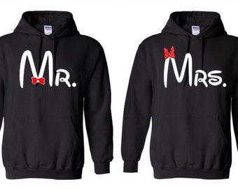 Mr. and Mrs. Hooded Sweatshirts Bride and Groom Couple Hoodies  Mr. and Mrs. Hoodies