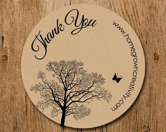 Customized Stickers - Thank You Stickers Black Tree Butterfly Branch - Labels - Wedding - Birthday Party - Thank You Stickers