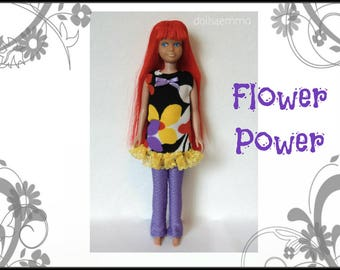 Vintage SL Skipper Doll Clothes - FLOWER POWER Mod Dress and Leggings - Custom Fashion - by dolls4emma