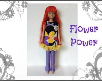 Vintage SL Skipper Doll Clothes - FLOWER POWER Mod Dress and Leggings - Custom Fashion - by dolls4emma