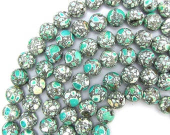 "12mm green mosaic flower turquoise round beads 16"" strand S1 13702"