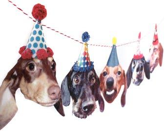 Dachshund Dogs Birthday Garland, photo reproductions on felt - funny wiener dog portraits birthday banner