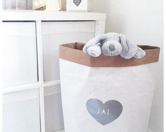 Personalised toy storage sack, nursery storage, heart, organisation, kids room