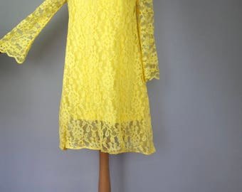 Vintage 60s A-Line Mini Dress - Sunshine Yellow Bell Sleeve Dress