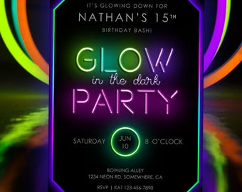Glow In the Dark Party Invitation | Glow In the Dark Dance Invitation | Neon Party Printable Invitation