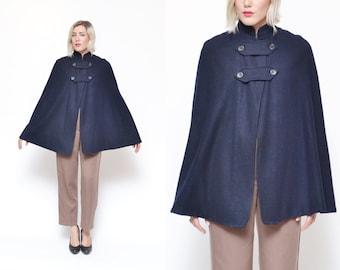 40s NAVY blue wool swing style nurse cape coat // high collar NAUTICAL button on military chic minimal mod princess jacket pea coat
