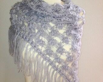 Crochet Shawl Triangle/Puff stitch  / Shawl with fringes / Bridal Shawl / Bridal Shrug Bolero/ Wedding Accessories /Scarf Boho Summer Wrap