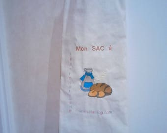 BAG with bread embroidery machine, 100% cotton, lined blue canvas